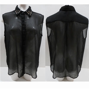 JW Style top XL studded semi sheer button up